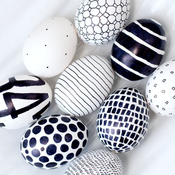 Monochrome Sharpie-decorated Easter eggs