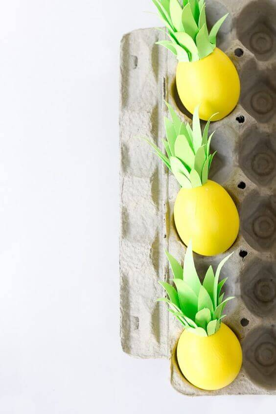 Pineapple-themed Easter eggs