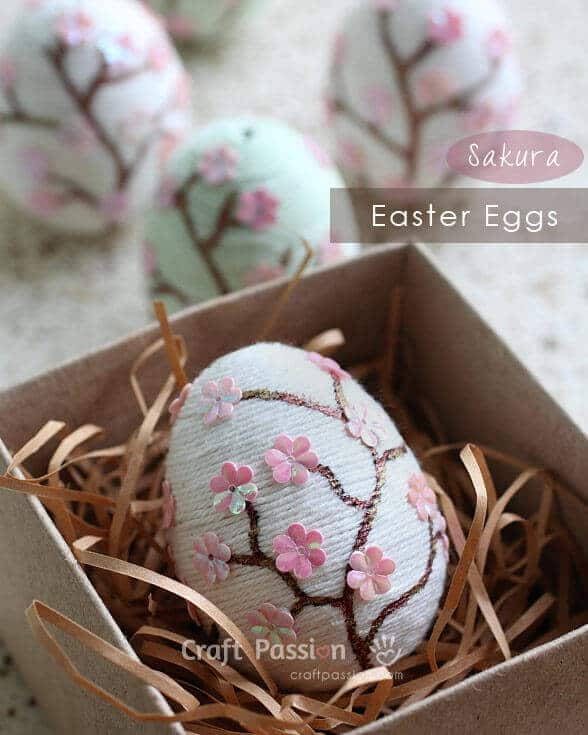 Sakura wrapped Easter eggs are beautiful.
