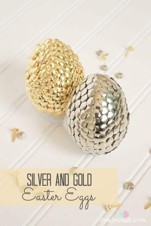 Silver and gold dragon Easter eggs.