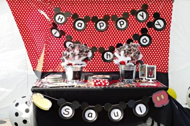 Mickey Mouse Birthday Cake and Dessert Table
