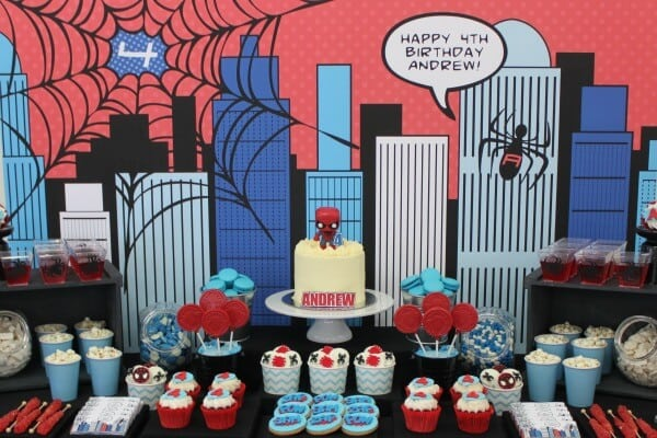 4 boy's-spiderman-theme-birthday-desserts
