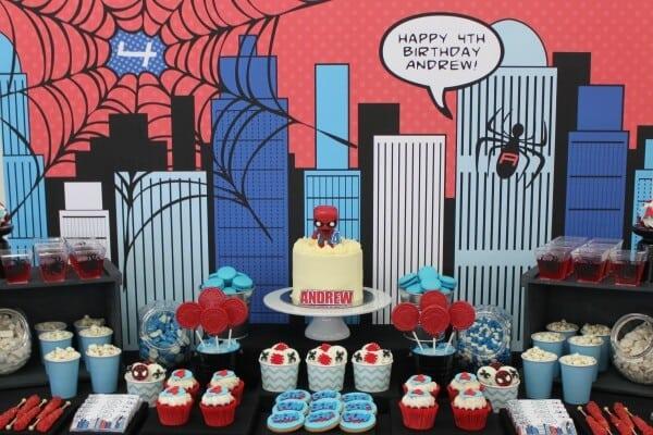4 boy's-spiderman-theme-birthday-desserts