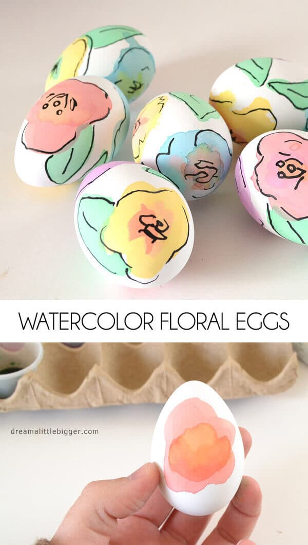 Classy, beautiful floral watercolor Easter egg decorations.