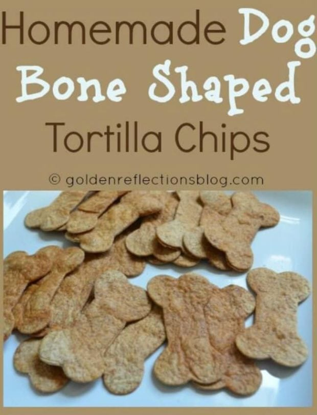 Homemade Dog Bone Shaped Tortilla Chips