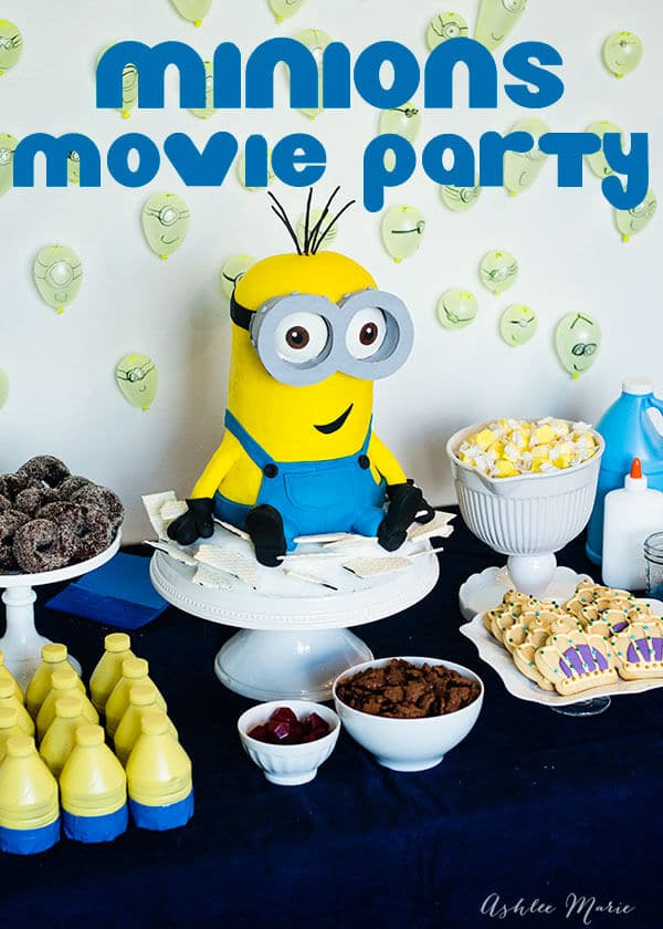 8 boys minion themed birthday dessert table