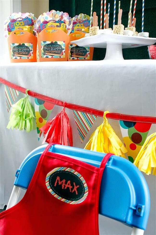 Boys Art Birthday Party Table PLace Setting Ideas