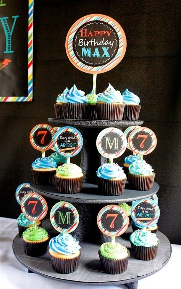 Boys Art Themed Birthday Party Cupcake Food Ideas
