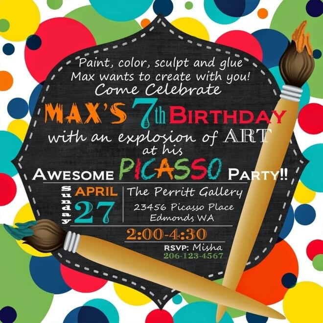 Boys Art Themed Birthday Party Invitation Ideas