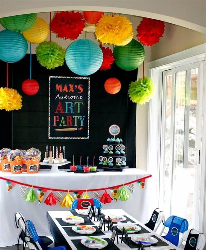 Boys Art Themed Birthday Party Table Setting Ideas