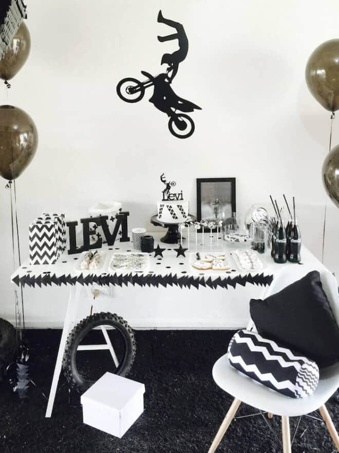 Boys Motor Cross Themed Birthday Party Dessert Table