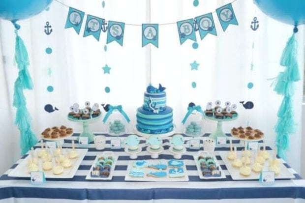 A boy 39 s whale themed baby shower spaceships and laser beams for Baby shower decoration kits boy