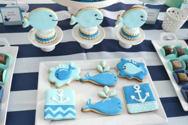 a boy's whale themed baby shower  spaceships and laser beams, Baby shower