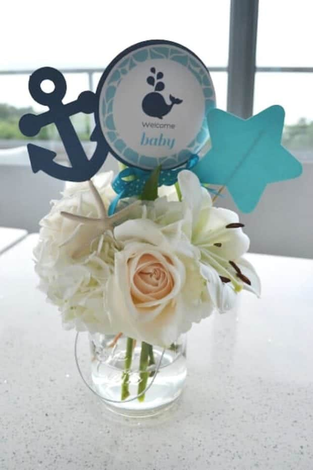 Boys Whale Baby Shower Table Centerpieces