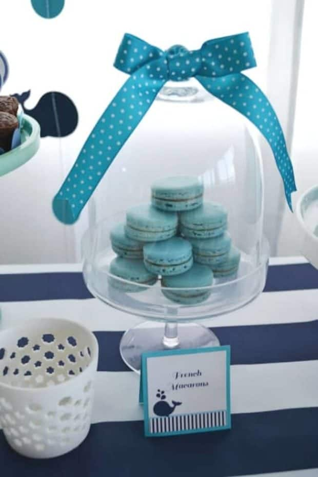 Boys Whale Baby Shower Themed Macaroon Ideas