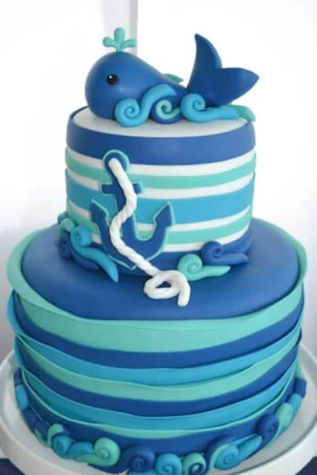 Boys Whale Themed Baby Shower Party Cake Ideas