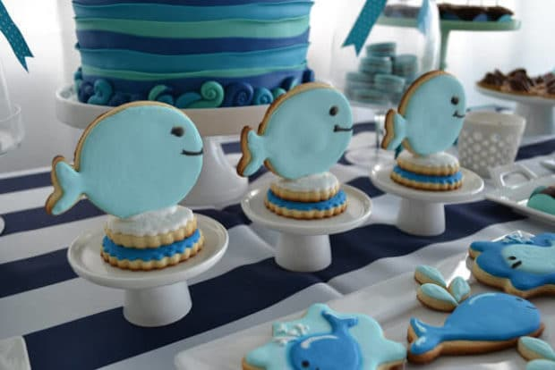 Boys Whale Themed Baby Shower cookies