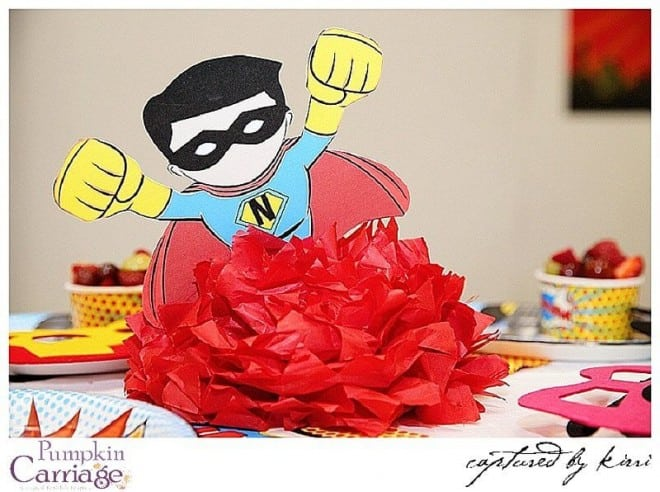 Boys superhero birthday party centerpiece ideas