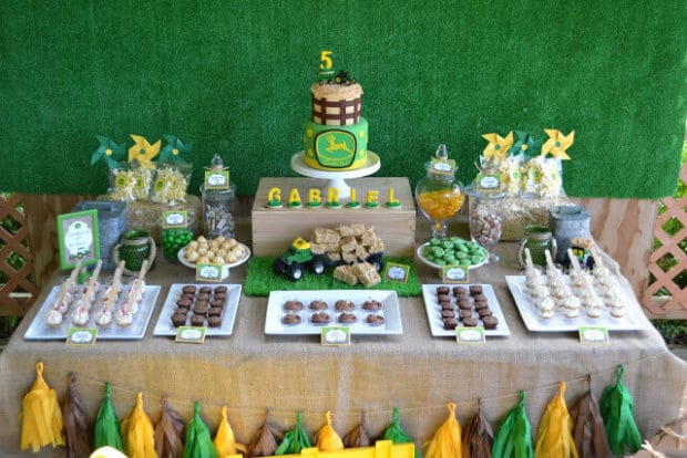 Farm tractor dessert table