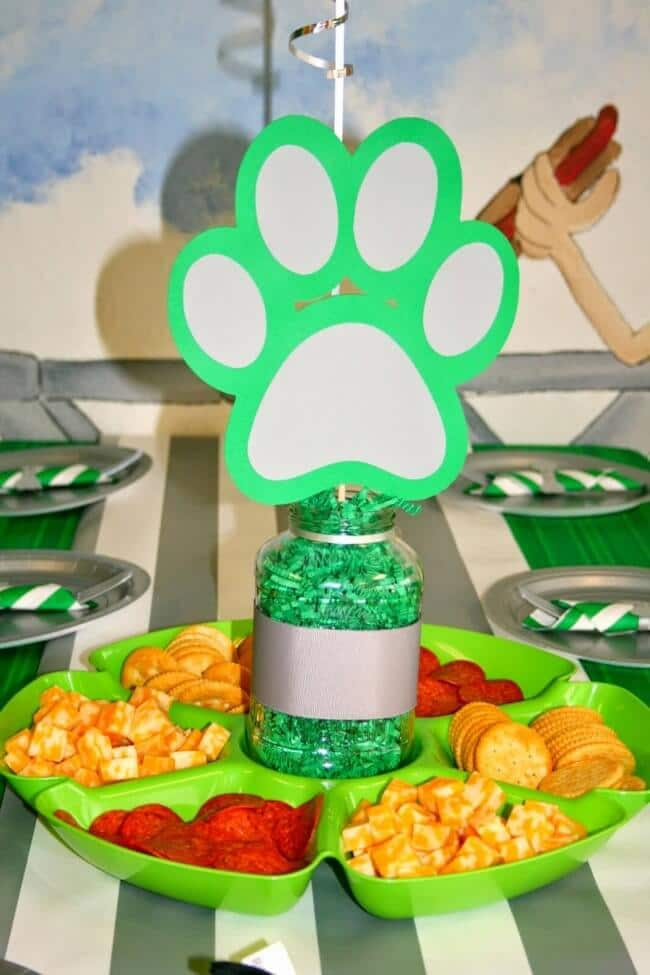 Puppy Themed Boys Birthday party Table centerpiece ideas