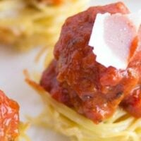 Super Bowl Appetizer - Mini Spaghetti Cups