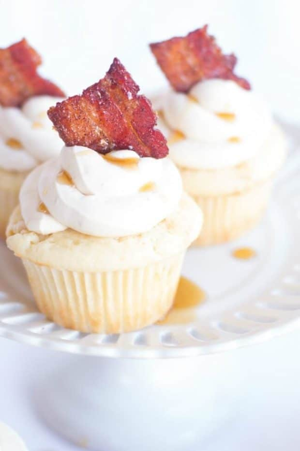 Maple Cupcakes with Candy Bacon