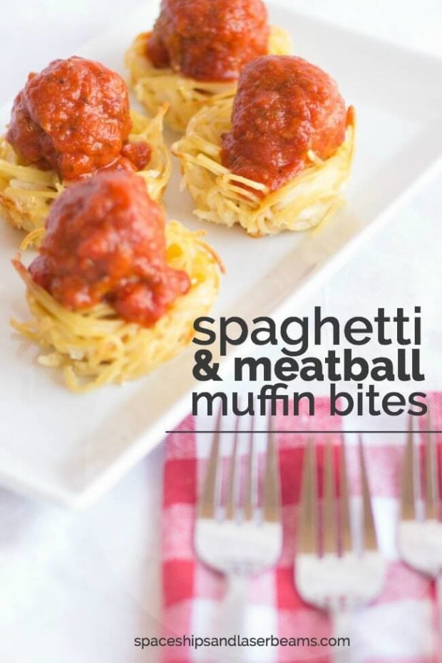 Spaghetti & Meatballs Muffin Bites