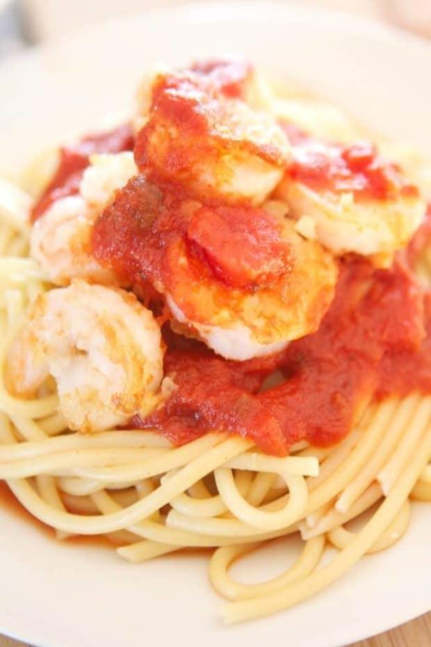 New York Style Shrimp on Spaghetti