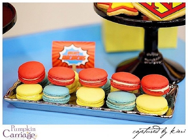 superhero themed birthday party food macaroon ideas