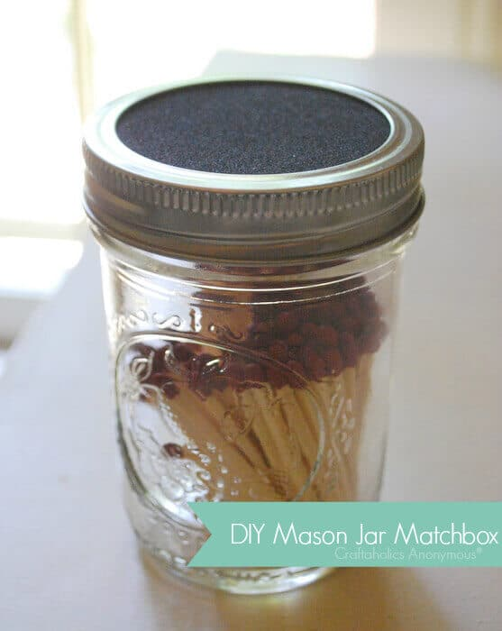 This clever DIY mason jar match box will keep your matches safe, dry and ready to use.