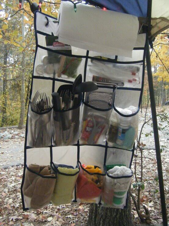 Use A Shoe Organizer To Store And Organize Your Camping Kitchen