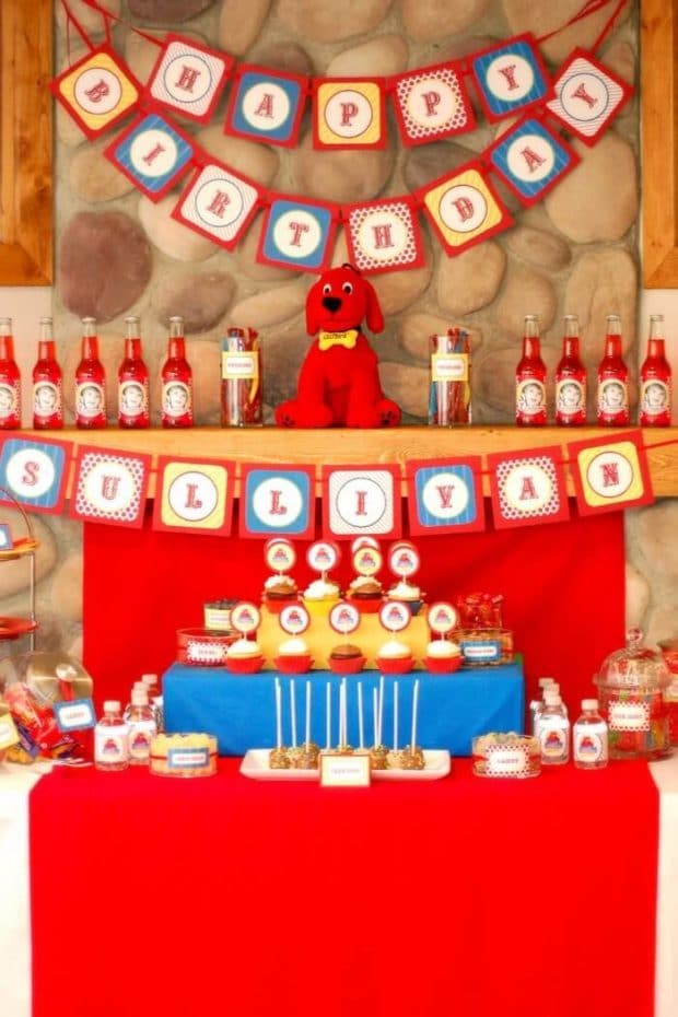 Clifford-themed-birthday-dessert-table