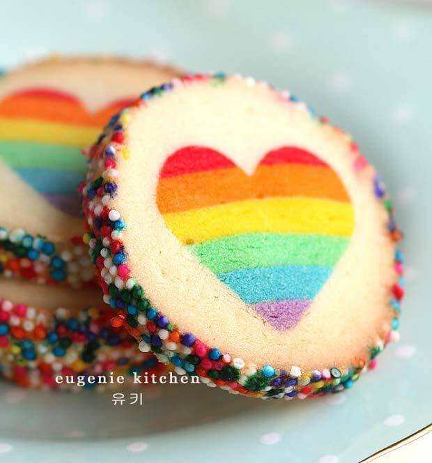 Rainbow Heart Cookies