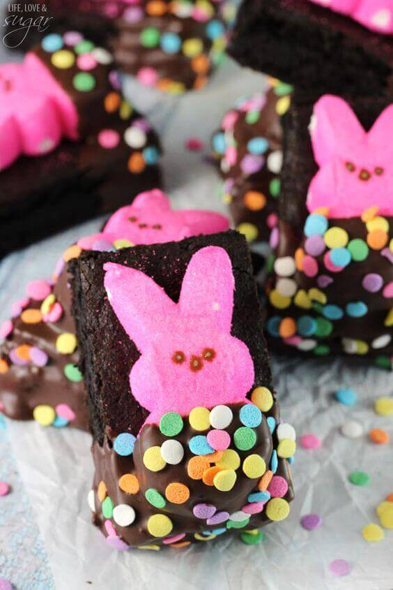 Bunny PEEPS in a Blanket Brownie