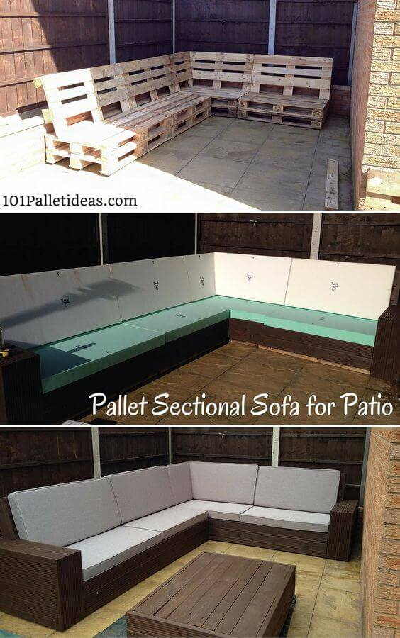 DIY Pallet Sectional for Patio