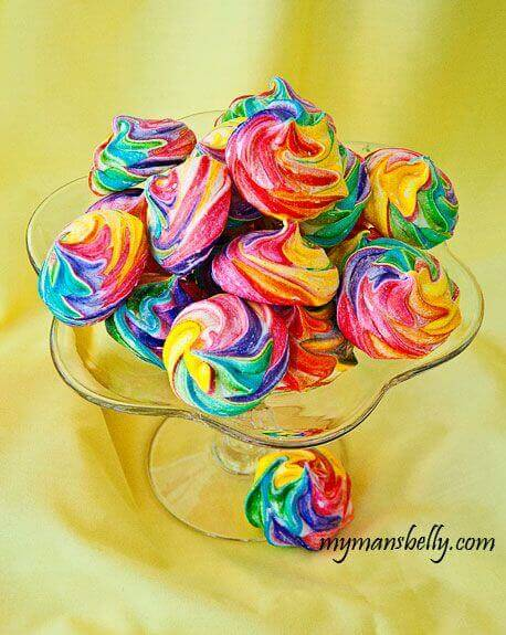Easy Rainbow Meringue Cookies