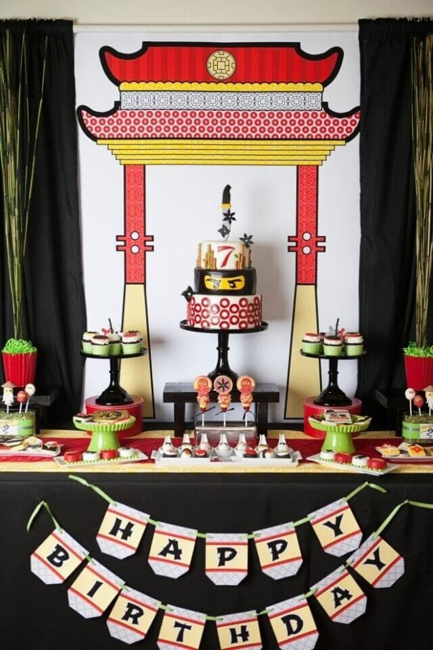 This amazing Lego Ninjago Inspired Dessert Table is loaded with tasty treats