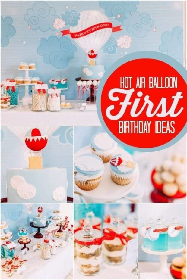 19 hot air balloon party ideas spaceships and laser beams for 1st birthday balloon decoration images