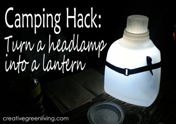 Use a clear plastic bottle and a headlamp to create a quick, bright lantern.