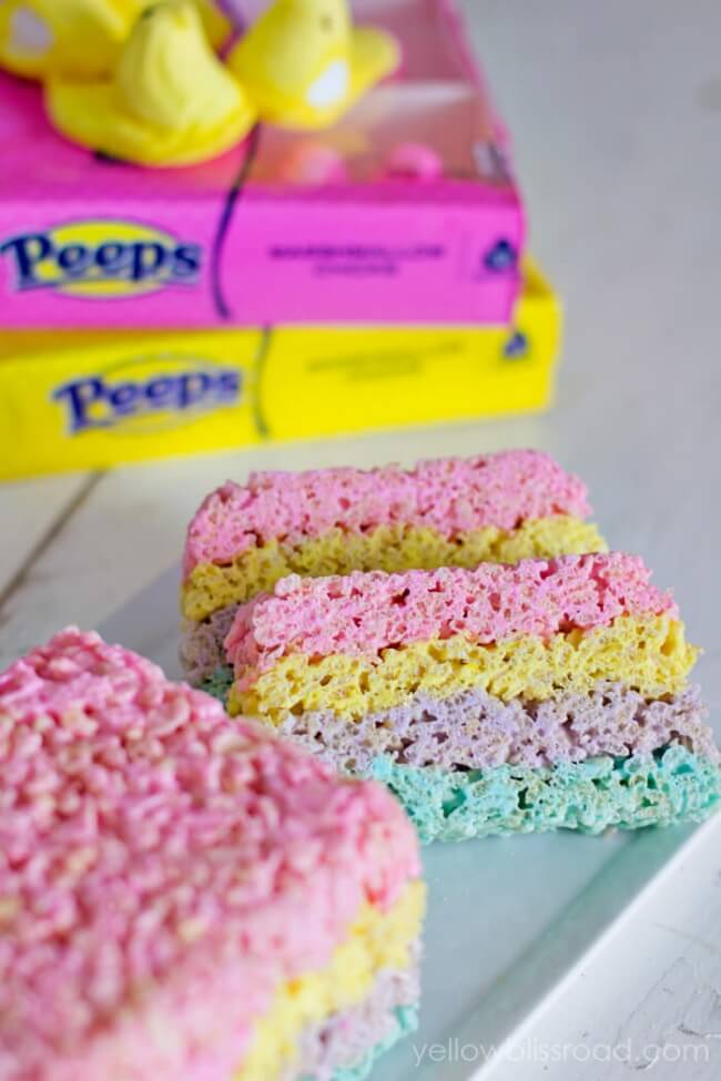 Layered PEEPS Crispy Rice Cereal Treats