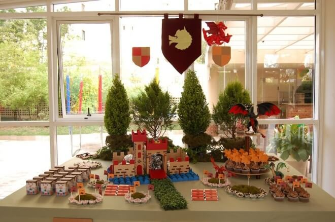 Boy's Good Knight Dessert Table