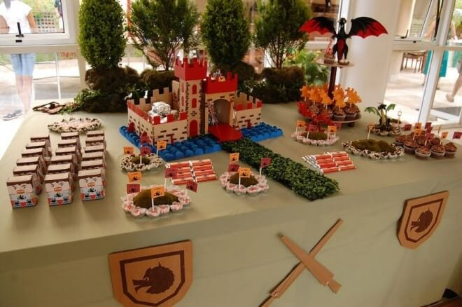 Boy's Knight Themed Birthday Party Dessert Table