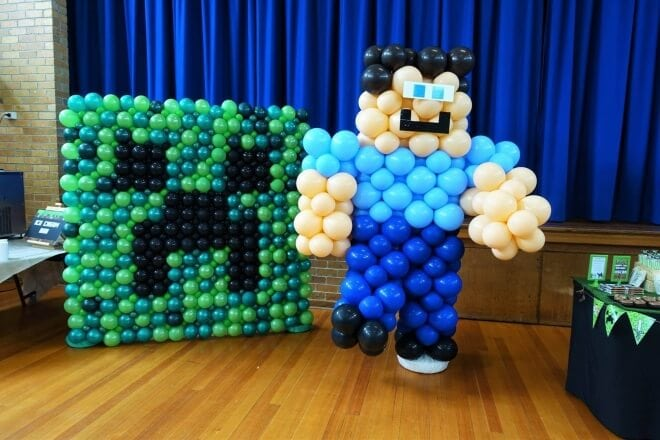 Boys Minecraft Birthday Party Balloon Decorations