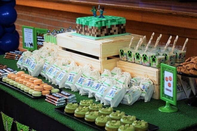 Boys Minecraft Birthday Party Dessert Table Party Ideas