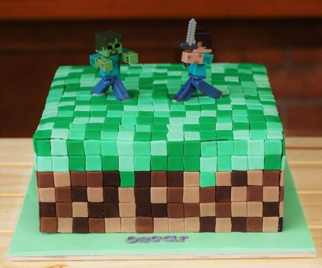 Boys Minecraft Birthday Party Food Cake Ideas