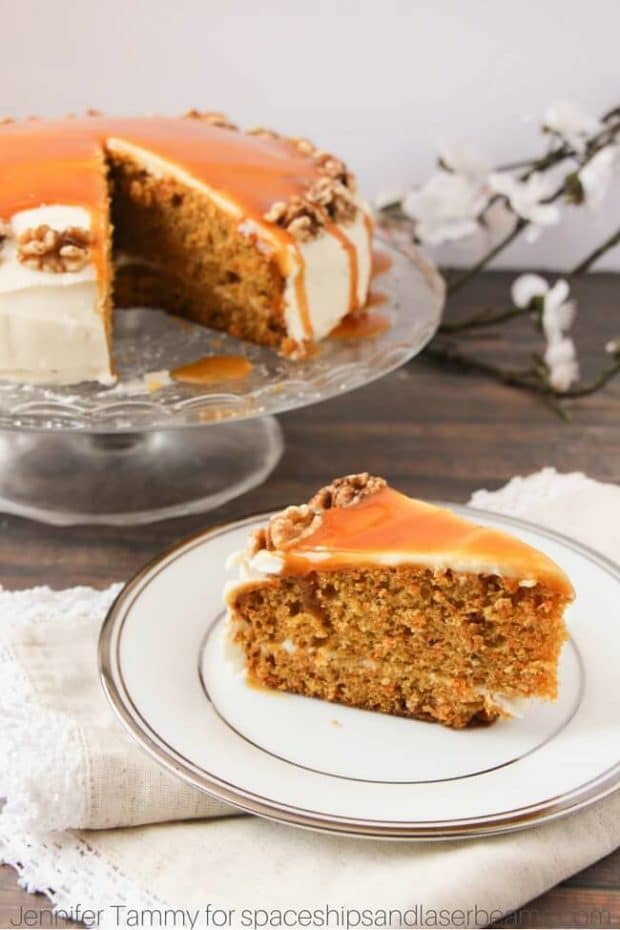 Carrot Cake With Cream Cheese Frosting Amp Caramel Sauce
