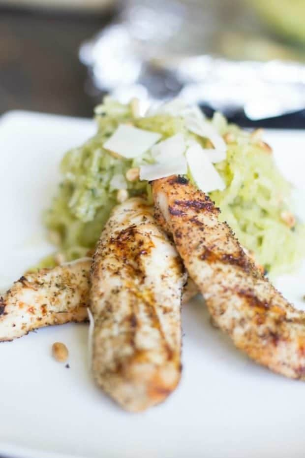 Grilled Chicken with Spaghetti Squash