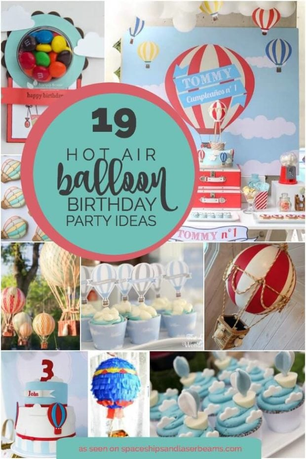Boy 39 s hot air balloon party theme spaceships and laser beams for Birthday balloon ideas