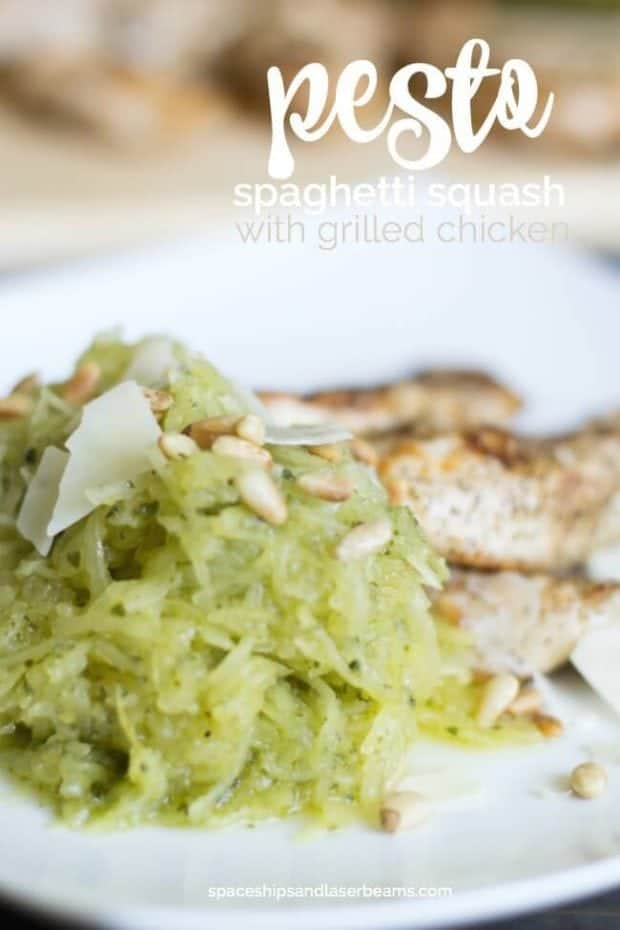 Pesto Spaghetti Squash with Grilled Chicken