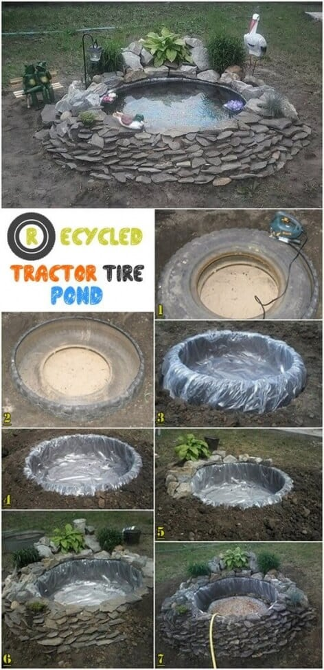 19 diy tire project ideas spaceships and laser beams for Diy pond liner ideas